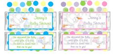 Personalized BOY GIRL STORK Baby Shower candy bar wrappers Favors FREE FOILS
