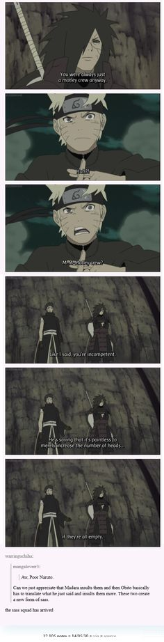 "<3 Naruto, Madara & Obito - ""Can we just appreciate that Madara insults them and then Obito basically has to translate what he just said and insults them more. These two create a new form of sass."""