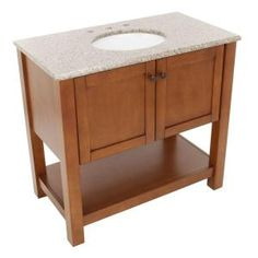 American Classics Palisades 37 in. Vanity in Bourbon Cherry with Granite Vanity Top in Beige with White Basin-PPPLSBRC36Y at The Home Depot