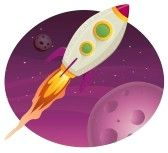 Illustration of a rocket ship flying through outer space among planets and stars stock photography