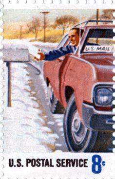 U.S. Postal Service vintage stamp - postman, mailman