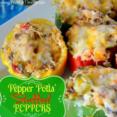 Pepper Potts' Stuffed Bell Peppers | Mom On Timeout  - So delicious!  Perfect for dinner or parties!  #dinner #recipe #Avengers