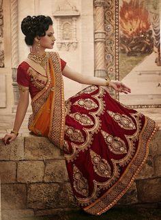 Dual color heavy sizzling lehenga saree - Rs 11590