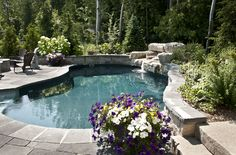 Fox Pool with natural waterfall feature.