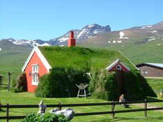 Beautiful and Green Icelandic Turf Houses