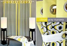 DIY Michael Miller Fabrics Citron-Gray Nursery Panel Curtains with Grommets