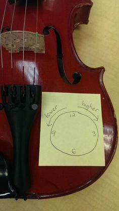 """I had each student make a Post-It note. The number of times I had to answer """"Which way do I turn for higher?"""" dropped to zero. The students decided for themselves when they no longer needed the reminder on their instrument."""