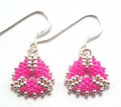 Hot Pink & Silver Mini Triangle Beadwork Earrings Free Shipping USA