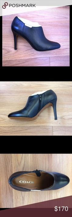 NEW!!! Black Coach Booties Black heeled booties by Coach. Beautiful smooth black leather. So elegant!! Perfect winter bootie!! I love these but I like to wear thick socks with booties and needed to go half a size up. This is perfect for anyone who wants a fashionable winter bootie!! Coach Shoes Ankle Boots & Booties