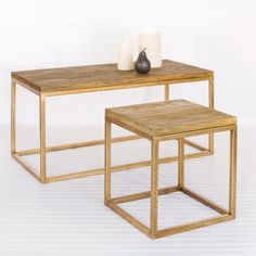 Wood Top and Gold Leaf Coffee Table by Worlds Away