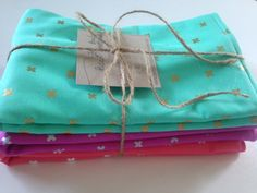 CottonSteel XOXO: Set of 3 Burp Cloths Ready by BabyStitchBoutique