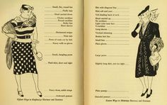 "Fifteen Ways to Emphasize Shortness and Stoutness, 1939. | ""Although this two page spread is ostensibly about height and weight, I think the real message is to warn against eccentric dress. . ."" 