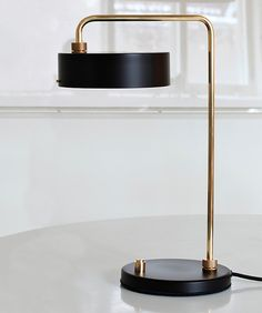 Petite Machine Table Lamp designed by the Danish studio Lindholdt . An adjustable table lamp with maneuverable elements with a matt glass gives a perfect soft glow . On and off button in black rubber. Table Lamps For Bedroom, Brass Table Lamps, Desk Lamp, Bar Lighting, Interior Lighting, Lighting Design, Lighting Ideas, Lampe Spot, Tiffany Table Lamps