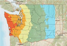 Who will be affected by the earthquake? Here's a map, courtesy of the Washington State Seismic Hazards Catalog, that shows expected shaking intensity in Washington. (The color scheme has changed but the gist is the same: here, the cooler colors indicate lighter shaking, the warmer ones greater intensity.) As you can see, the zones of severity basically extend in parallel vertical bands across the region.