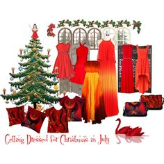 """""""Getting Dressed for Christmas - in July"""" by dianeclancy on Polyvore"""