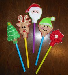 In The Hoop Christmas Pencil Topper Design Set for Embroidery Machines