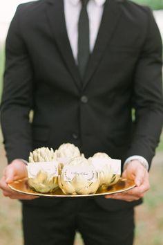 gold artichoke place cards, photo by Kati Rosado Photography http://ruffledblog.com/southern-florida-wedding-inspiration #weddingideas