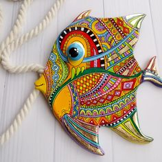 Talavera pottery fish wall art in Mexico folk art. Talavera pottery fish wall art in Mexico folk art. Nautical wall d Fish Wall Art, Fish Art, Crestview Collection, Talavera Pottery, Nautical Wall Decor, Polymer Clay Sculptures, Beach House Decor, Beach Houses, Mexican Folk Art
