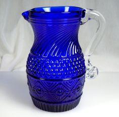 Vintage Pilgrim Cobalt Blue Glass Bennington Pitcher