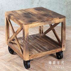 【OPUS LOFT】復古工業風 移動式 邊架實木材質,耐用又美觀