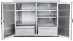 Barbeques Galore Stainless Steel Dry Storage Cabinet for sale online Contemporary Storage Cabinets, Craft Storage Cabinets, Diy Cabinets, Storage Drawers, Locker Storage, Stainless Steel Island, Stainless Kitchen, Stainless Steel Doors, Kitchen Armoire