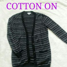 "Striped Sweater Striped button down sweater in black and charcoal. Two front pockets. Very soft in 100% acrylic. Length 29"" Bust 38"". Excellent condition! Cotton On Sweaters Cardigans"