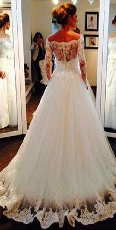 #Wedding #Dresses #Taffeta #BridalGowns #VestidosDeNoiva #NewArrival #LongSleeve #Sheer #Lace #A-line #BridalGown