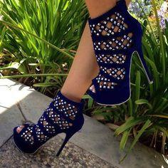 Women's Fashion High Heels : Sexy Heels Heeled Boots, Shoe Boots, Shoes Heels, Pumps, Blue Heels, Blue Sandals, Stilettos, Flats, Ankle Boots
