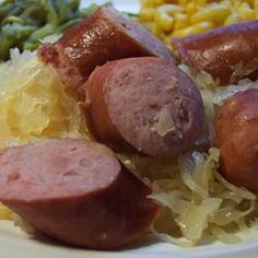 Slow Cooker Kielbasa and Beer Allrecipes.com We always have kielbasa and beer and sometime sauerkraut...gonna give it a try.