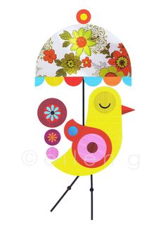 A4s Yellow Bird with Flower Umbrella Print of by EllenGiggenbach, $18.00