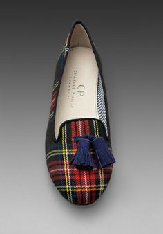 Lana Wool Plaid Flat with Tassel in Scottish Red/ Navy -