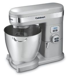 This brushed chrome Cuisinart® stand mixer has 1000 watts of power, includes 12 mixing speed options and features 3 power outlets. Its extra-large stainless steel bowl is perfect for handling big batches. Kitchen Stand Mixers, Small Kitchen Appliances, Kitchen Aid Mixer, Kitchen Countertops, Cool Kitchens, Kitchen Gadgets, House Appliances, Stand Mixer Reviews, Best Stand Mixer