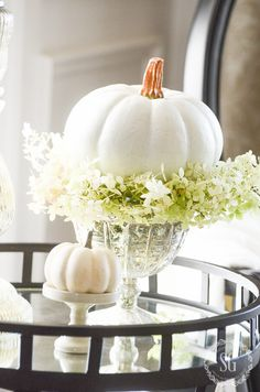 White Pumpkin and White Hydrangeas are perfect on the table!  Easy Decorating Ideas for Transitioning into Fall featured on Shabbyfufu Blog.