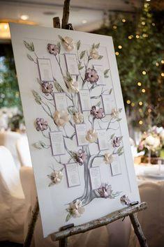 5 idee per un tableau mariage a tema Albero della Vita - cartellone con fiori e rami tridimensionali
