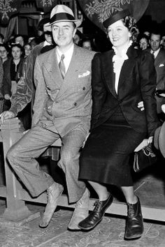 William Powell and Myrna Loy at the footprint ceremony. Grauman's Chinese Theater - 1936