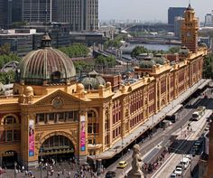 Flinders St. Station and surrounds (aerial) Melbourne Australia