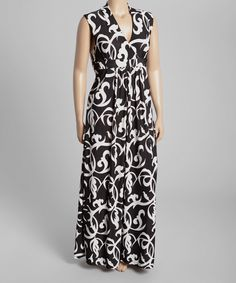 Look at this Black & White Vine Sleeveless Maxi Dress - Plus on #zulily today!