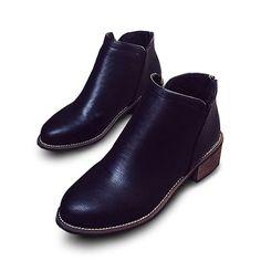 New Women Short Boots Fashion Martin Boots Plush Cotton Slip-On Comfortable PU C - US$28.47