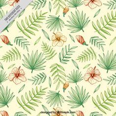 Desenho fundo floral com folhas de palmeira Vetor grátis