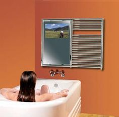 Mirror with Built in TV | Towel Warmer with built-in Aquavision Mirror TV from Myson Verizon #Techoration Contest Entry