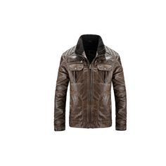 Vintage Motorcycle Style PU Leather Biker Jacket Multi Pockets... (115 BAM) ❤ liked on Polyvore featuring men's fashion, men's clothing, men's outerwear, men's jackets, brown, men coats & jackets, mens biker jacket, mens zip up jackets, mens brown leather motorcycle jacket and mens brown jacket