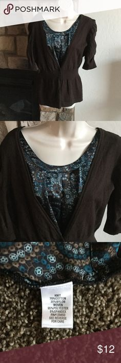 2 in 1 knit top Short sleeve brown cardigan knit over blouse of brown & turquoise Apartment 9 Tops