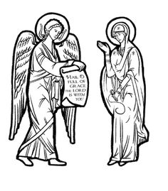 Feast of Annunciation. print and color for puppets.