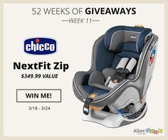 Enter to win a Chicco NextFit Zip from @AlbeeBaby during their 52 Weeks of Giveaways contest!