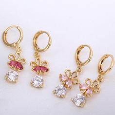 7mm 18K Gold Plated Fashion Shining Flower with Round Zircon Ladies Copper Earrings