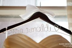 Wire Mrs to be wedding dress hanger - Sassy Mouth Photography