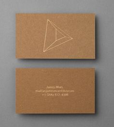 Uncoated, unbleached board business card with gold foil detail for Seattle based photographer James Moes designed by Xavier Encinas.