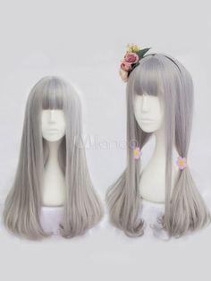 Harajuku Lolita Wigs Light Grey Long Straight Blunt Bangs Curls At Ends Synthetic Hair Wigs - Lolitashow.com