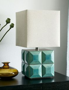 Crackle Teal Azulejo Table Lamp