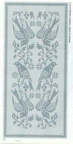 filet crochet Kira scheme crochet: Scheme crochet no. Crochet Curtain Pattern, Crochet Tablecloth Pattern, Crochet Curtains, Crochet Motif, Filet Pattern Crochet, Knitted Mittens Pattern, Fair Isle Knitting Patterns, Knitting Charts, Weaving Patterns